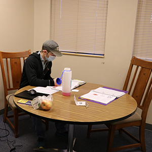 Great Falls College student Jesse Kuhn uses one of the Veterans Center study rooms at the college, which was just designated a GEM school, meaning U.S. Air Force and Air National Guard servicemembers can get their general education credits at the college.
